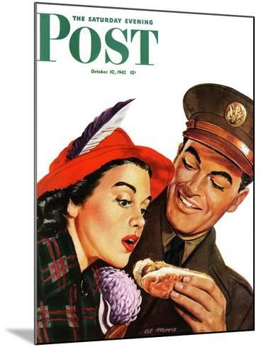 """Hot Dog for a Hot Date,"" Saturday Evening Post Cover, October 10, 1942-Al Moore-Mounted Giclee Print"