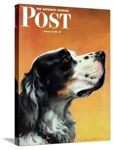 """""""Gordon Setter,"""" Saturday Evening Post Cover, October 17, 1942-W^W^ Calvert-Stretched Canvas Print"""