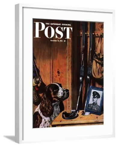 """Patient Dog,"" Saturday Evening Post Cover, December 12, 1942-John Atherton-Framed Art Print"