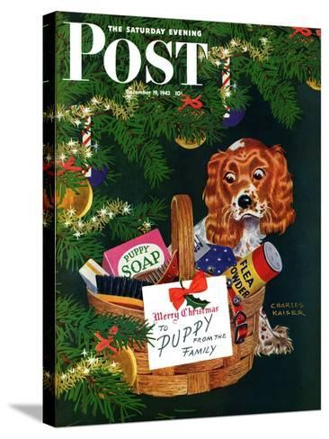 """""""Doggy Basket,"""" Saturday Evening Post Cover, December 19, 1942-Charles Kaiser-Stretched Canvas Print"""