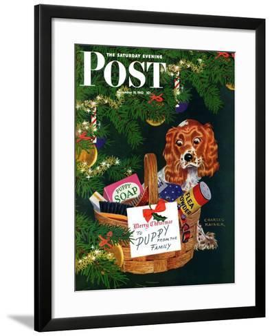 """Doggy Basket,"" Saturday Evening Post Cover, December 19, 1942-Charles Kaiser-Framed Art Print"