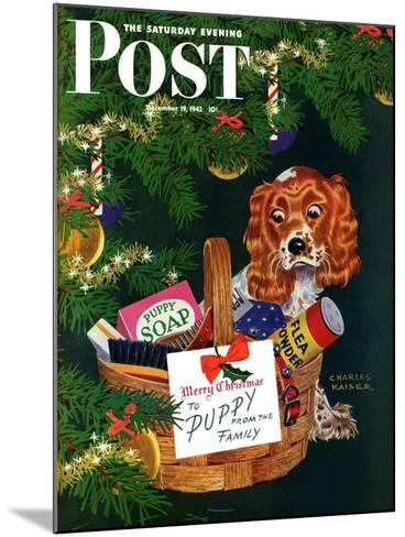 """""""Doggy Basket,"""" Saturday Evening Post Cover, December 19, 1942-Charles Kaiser-Mounted Giclee Print"""