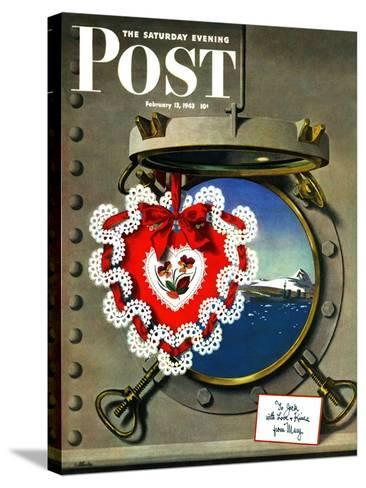 """""""Valentine's Day at Sea,"""" Saturday Evening Post Cover, February 13, 1943-John Atherton-Stretched Canvas Print"""