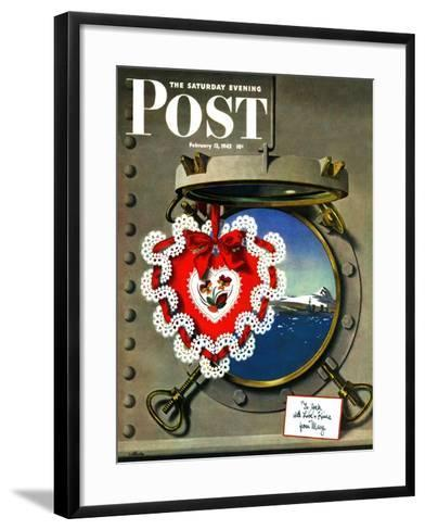"""""""Valentine's Day at Sea,"""" Saturday Evening Post Cover, February 13, 1943-John Atherton-Framed Art Print"""