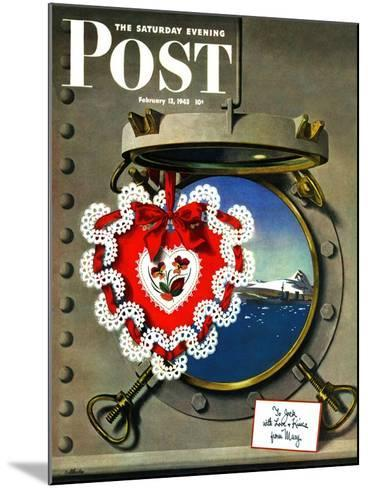 """""""Valentine's Day at Sea,"""" Saturday Evening Post Cover, February 13, 1943-John Atherton-Mounted Giclee Print"""