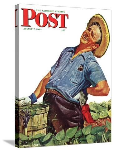 """""""Victory Garden,"""" Saturday Evening Post Cover, August 7, 1943-Howard Scott-Stretched Canvas Print"""
