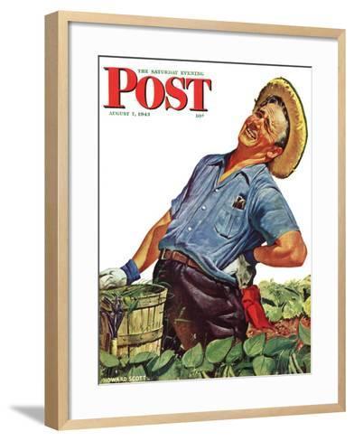"""Victory Garden,"" Saturday Evening Post Cover, August 7, 1943-Howard Scott-Framed Art Print"