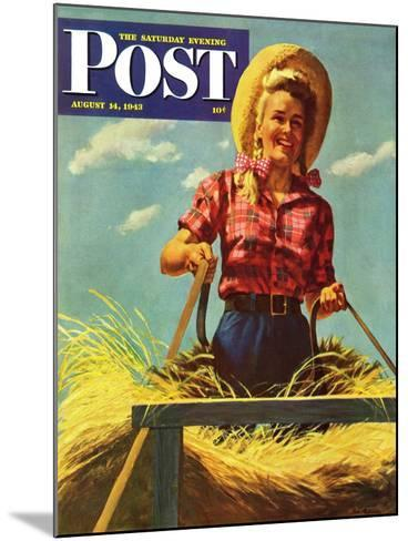 """Woman Driving Hay Wagon,"" Saturday Evening Post Cover, August 14, 1943-Ray Prohaska-Mounted Giclee Print"