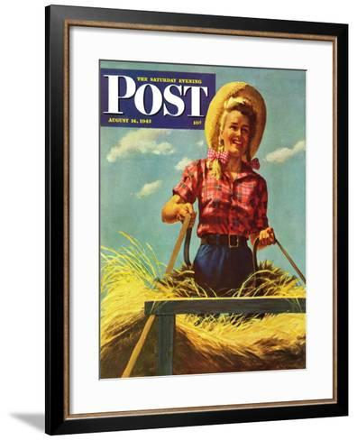 """Woman Driving Hay Wagon,"" Saturday Evening Post Cover, August 14, 1943-Ray Prohaska-Framed Art Print"