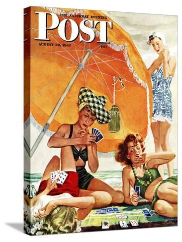 """""""Card Game at the Beach,"""" Saturday Evening Post Cover, August 28, 1943-Alex Ross-Stretched Canvas Print"""
