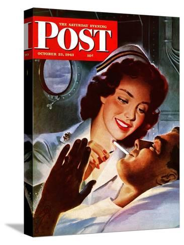 """""""Lighting His Cigarette,"""" Saturday Evening Post Cover, October 23, 1943-Jon Whitcomb-Stretched Canvas Print"""