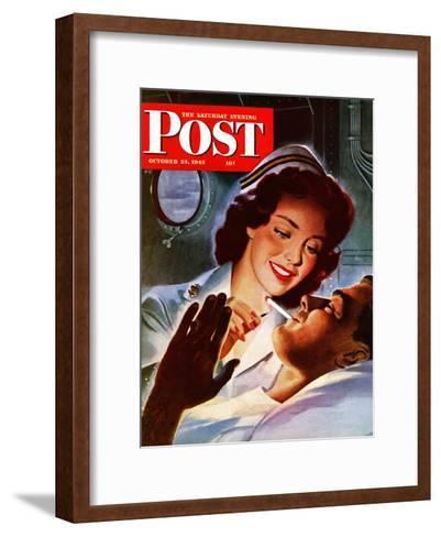 """Lighting His Cigarette,"" Saturday Evening Post Cover, October 23, 1943-Jon Whitcomb-Framed Art Print"