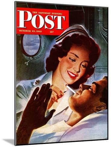 """""""Lighting His Cigarette,"""" Saturday Evening Post Cover, October 23, 1943-Jon Whitcomb-Mounted Giclee Print"""