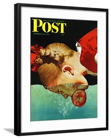 """Bobbing for Apples,"" Saturday Evening Post Cover, October 30, 1943-John Hyde Phillips-Framed Art Print"