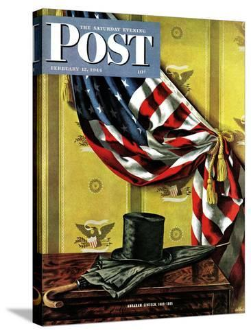 """Commemorating Lincoln's Birthday,"" Saturday Evening Post Cover, February 12, 1944-John Atherton-Stretched Canvas Print"