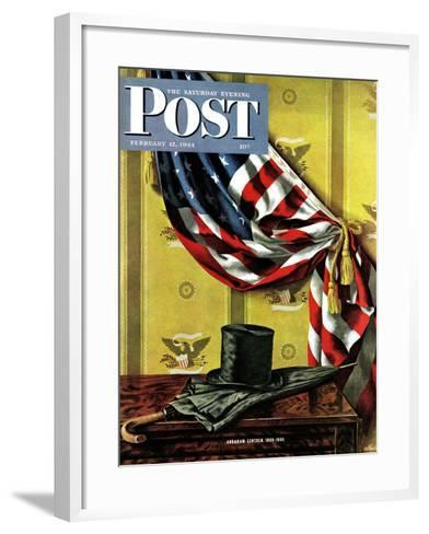 """Commemorating Lincoln's Birthday,"" Saturday Evening Post Cover, February 12, 1944-John Atherton-Framed Art Print"