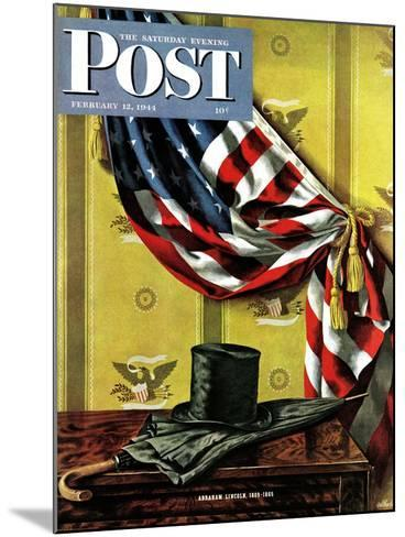 """Commemorating Lincoln's Birthday,"" Saturday Evening Post Cover, February 12, 1944-John Atherton-Mounted Giclee Print"