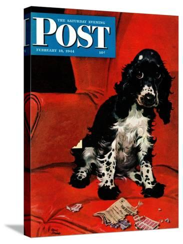 """""""Butch Ate the Coupons,"""" Saturday Evening Post Cover, February 19, 1944-Albert Staehle-Stretched Canvas Print"""