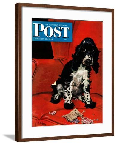 """""""Butch Ate the Coupons,"""" Saturday Evening Post Cover, February 19, 1944-Albert Staehle-Framed Art Print"""