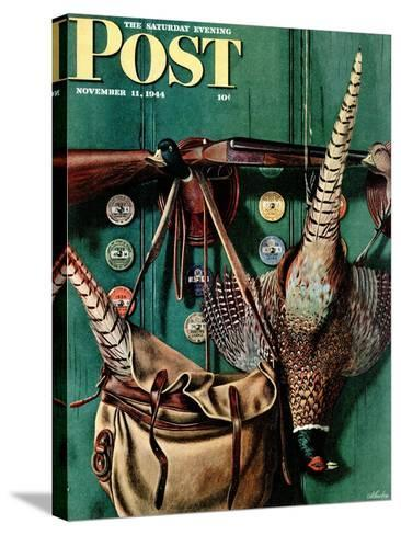 """Hunting still life,"" Saturday Evening Post Cover, November 11, 1944-John Atherton-Stretched Canvas Print"