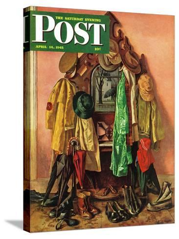 """""""Loaded Coat Rack,"""" Saturday Evening Post Cover, April 14, 1945-John Atherton-Stretched Canvas Print"""
