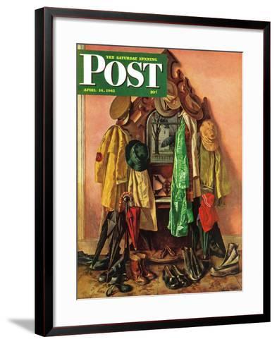 """Loaded Coat Rack,"" Saturday Evening Post Cover, April 14, 1945-John Atherton-Framed Art Print"