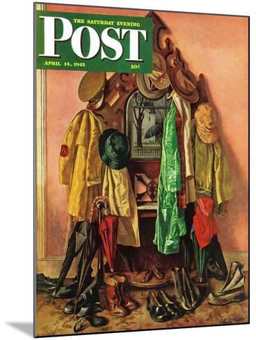 """Loaded Coat Rack,"" Saturday Evening Post Cover, April 14, 1945-John Atherton-Mounted Giclee Print"