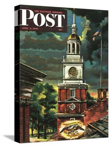 """Independence Hall, Philadelphia, Pa.,"" Saturday Evening Post Cover, June 2, 1945-Allen Saalburg-Stretched Canvas Print"