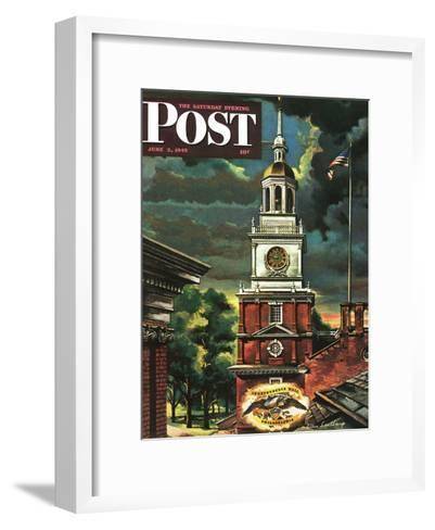"""Independence Hall, Philadelphia, Pa.,"" Saturday Evening Post Cover, June 2, 1945-Allen Saalburg-Framed Art Print"