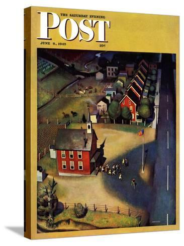 """""""School's Out,"""" Saturday Evening Post Cover, June 9, 1945-John Falter-Stretched Canvas Print"""