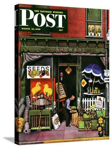 """""""Hardware Store at Springtime,"""" Saturday Evening Post Cover, March 16, 1946-Stevan Dohanos-Stretched Canvas Print"""