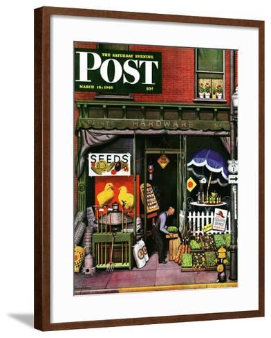 """Hardware Store at Springtime,"" Saturday Evening Post Cover, March 16, 1946-Stevan Dohanos-Framed Art Print"