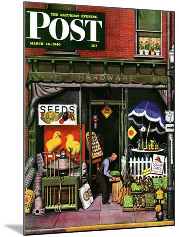 """""""Hardware Store at Springtime,"""" Saturday Evening Post Cover, March 16, 1946-Stevan Dohanos-Mounted Giclee Print"""