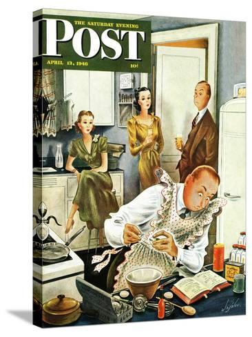 """Gourmet Cook?,"" Saturday Evening Post Cover, April 13, 1946-Constantin Alajalov-Stretched Canvas Print"