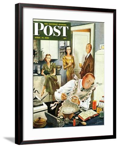 """Gourmet Cook?,"" Saturday Evening Post Cover, April 13, 1946-Constantin Alajalov-Framed Art Print"