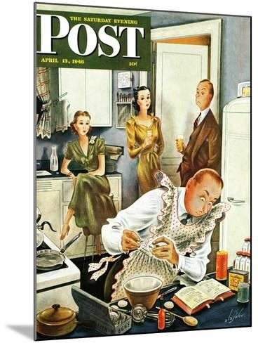 """""""Gourmet Cook?,"""" Saturday Evening Post Cover, April 13, 1946-Constantin Alajalov-Mounted Giclee Print"""