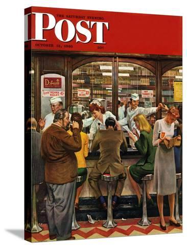 """""""Lunch Counter,"""" Saturday Evening Post Cover, October 12, 1946-John Falter-Stretched Canvas Print"""