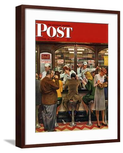 """Lunch Counter,"" Saturday Evening Post Cover, October 12, 1946-John Falter-Framed Art Print"
