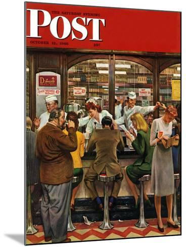 """""""Lunch Counter,"""" Saturday Evening Post Cover, October 12, 1946-John Falter-Mounted Giclee Print"""