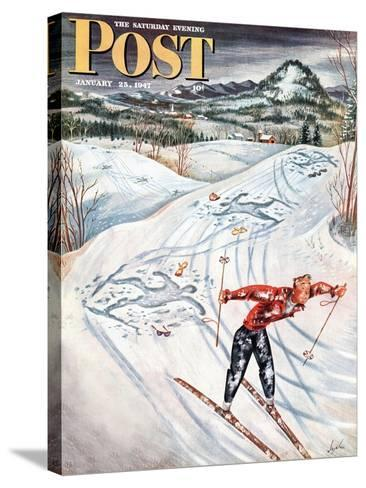 """""""Snow Skiier After the Falls,"""" Saturday Evening Post Cover, January 25, 1947-Constantin Alajalov-Stretched Canvas Print"""