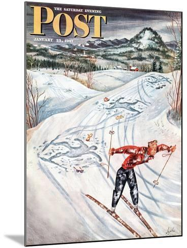 """""""Snow Skiier After the Falls,"""" Saturday Evening Post Cover, January 25, 1947-Constantin Alajalov-Mounted Giclee Print"""