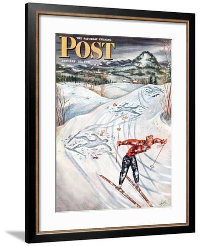 """Snow Skiier After the Falls,"" Saturday Evening Post Cover, January 25, 1947-Constantin Alajalov-Framed Art Print"