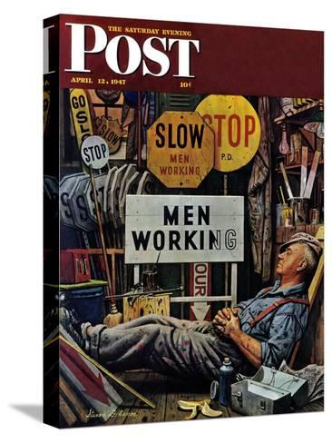 """""""Men Working,"""" Saturday Evening Post Cover, April 12, 1947-Stevan Dohanos-Stretched Canvas Print"""
