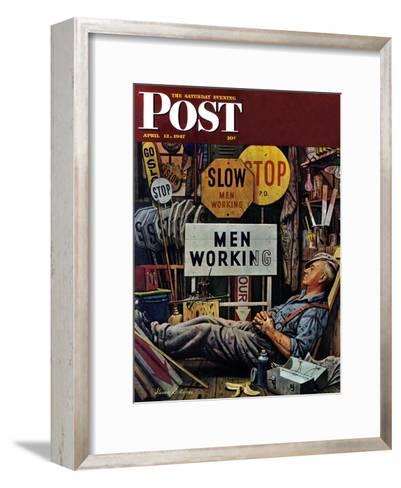 """Men Working,"" Saturday Evening Post Cover, April 12, 1947-Stevan Dohanos-Framed Art Print"