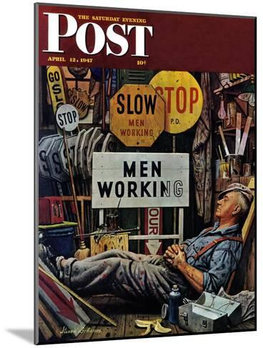"""""""Men Working,"""" Saturday Evening Post Cover, April 12, 1947-Stevan Dohanos-Mounted Giclee Print"""