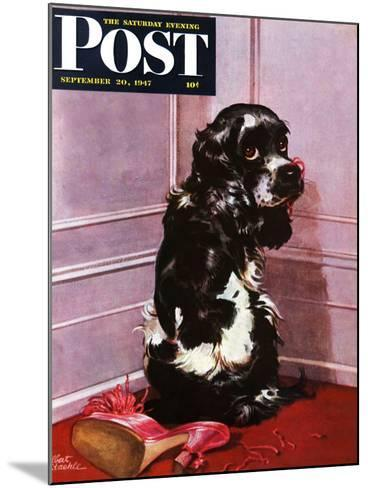 """""""Bad Dog, Butch,"""" Saturday Evening Post Cover, September 20, 1947-Albert Staehle-Mounted Giclee Print"""