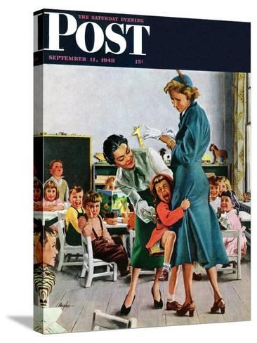"""""""Separation Anxiety,"""" Saturday Evening Post Cover, September 11, 1948-George Hughes-Stretched Canvas Print"""
