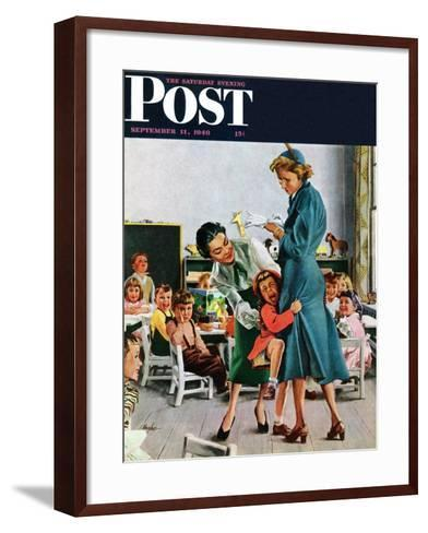 """""""Separation Anxiety,"""" Saturday Evening Post Cover, September 11, 1948-George Hughes-Framed Art Print"""