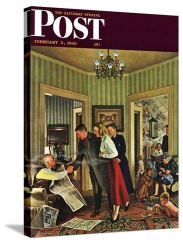 """""""Meeting the Date,"""" Saturday Evening Post Cover, February 5, 1949-John Falter-Stretched Canvas Print"""