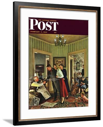"""Meeting the Date,"" Saturday Evening Post Cover, February 5, 1949-John Falter-Framed Art Print"